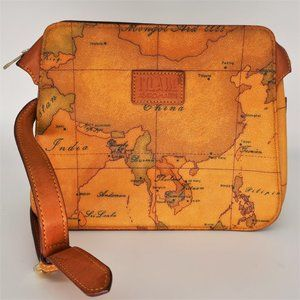 Alviero Martini Leather Asia Map Crossbody Bag